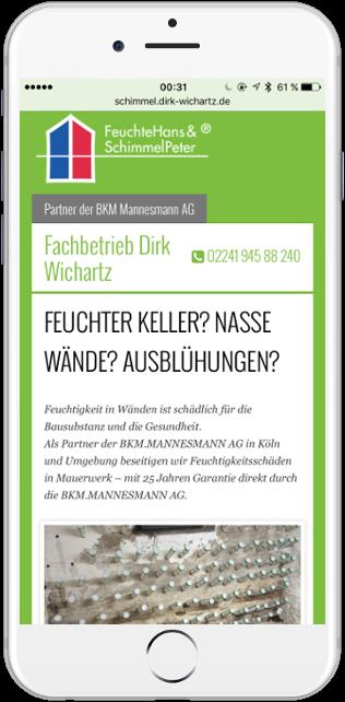Die mobile Ansicht der Dirk Wichartz SchimmelPeter Webseite
