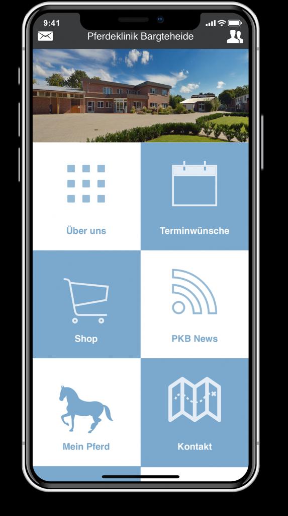 21medien App CMS: Beispiel Pferdeklinik Bargteheide (iPhone X)