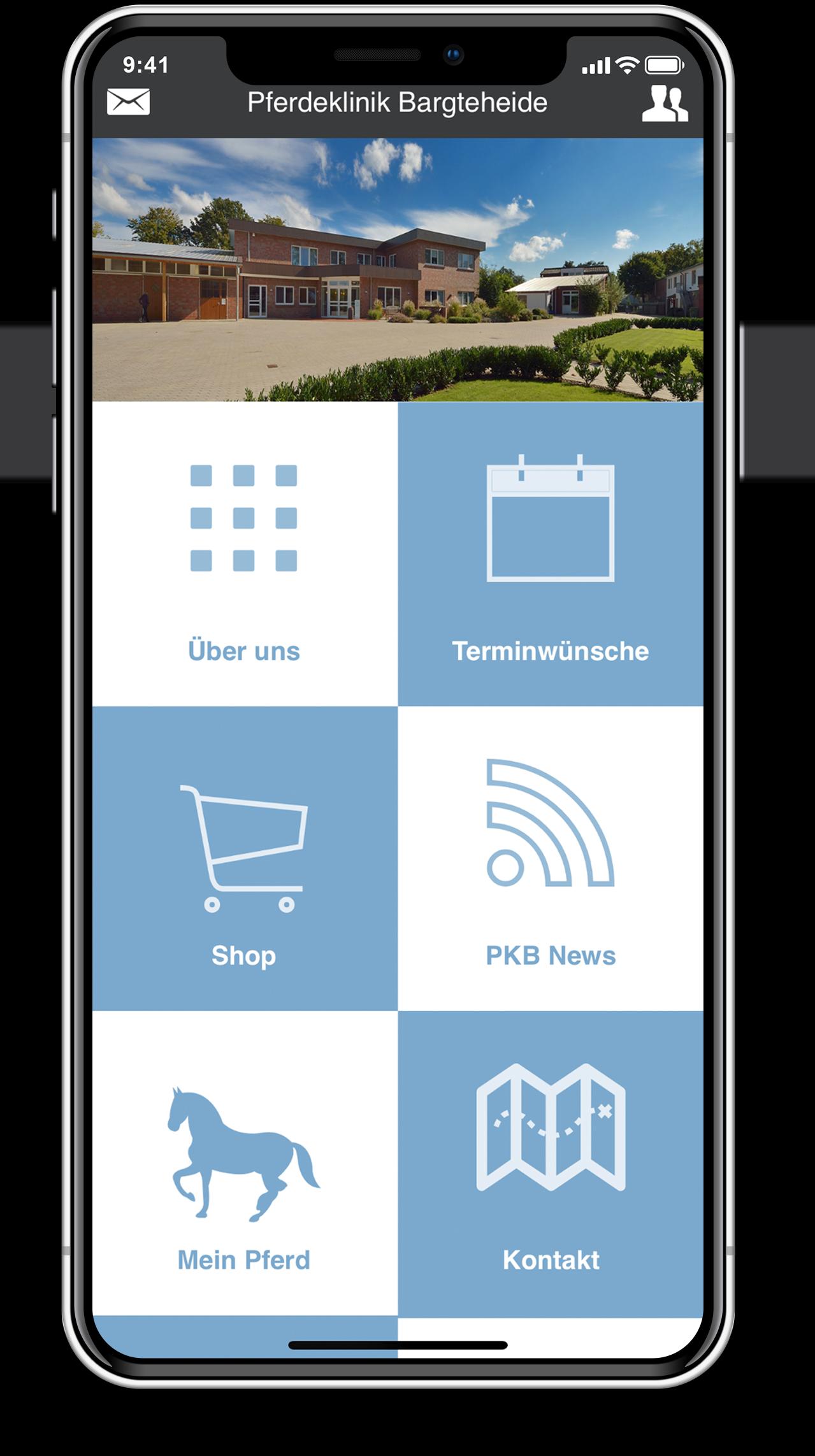 Pferdeklinik Bargteheide App auf einem iPhone X